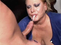 Chubby depraved mature does blowjob