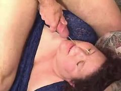 Large whore gets cum in gangbang