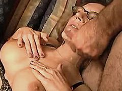 Mature gets fisting and cum in orgy