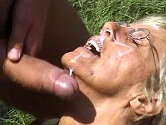 Grandma gets messy facial after wild sex in forest