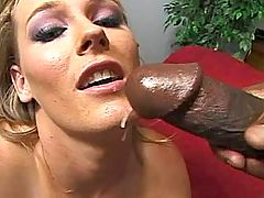 Scrawny white girl tries to swallow a big cock