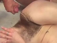 Nice mature gets cum on hairy pussy