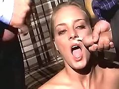 Blonde gets double facial