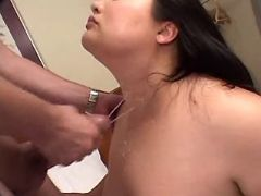 Fat asian babe fucks and gets cum