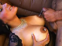 Beautiful mature gets cum on boobs
