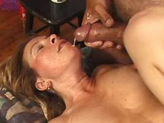 Horny granny gets cumload on face