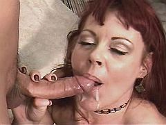 Hot mature sucks out cum after fuck