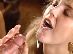 Lustful blonde slurps cum