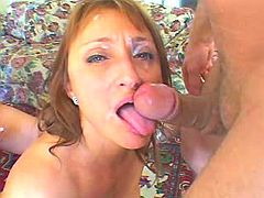 Filthy mature slut gets cum blasted in a threesome