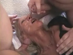 Old maid gets double cum
